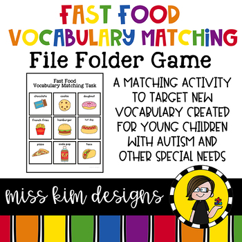 Fast Food Vocabulary Folder Game for students with Autism