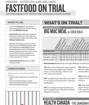 """Fast Food on Trial"" evidence handout for ""Fast Food on Trial Activity"""