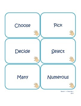 Fast Hands! Synonyms for Elementary