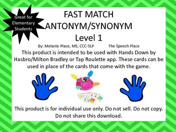 Fast Match! Antonym & Synonym Level 1