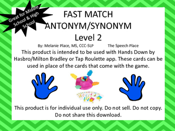 fast match antonym synonym level 2 by the speech place tpt