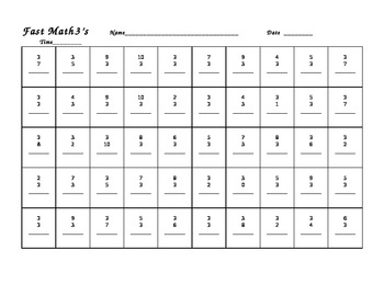 Fast Math 1-10 Worksheets: math fact recall practice sheets