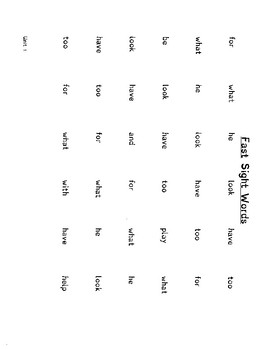 Fast Sight Words - Unit 1 only
