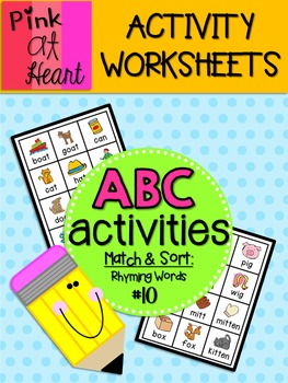 ABC Activities 10: Match and Sort: Rhyming Words
