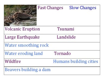 Fast and Slow Changes to the Earth sort and match