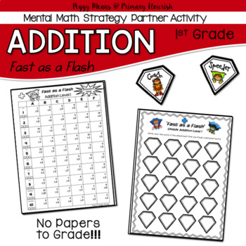 Math Fact Fluency Addition Partner Activity 1st Grade- Super Hero Theme