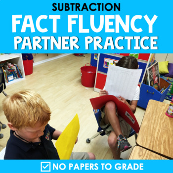 Math Facts Fluency Subtraction | Partner Activity | Super Hero Theme|