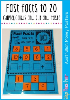 Fast facts to 20  - game boards and cut and paste