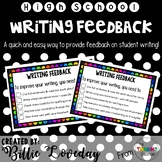 Fast feedback - Bookwork and writing feedback cards
