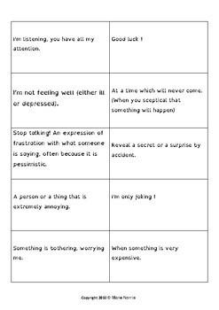 Fast finishers tasks: British idioms game.