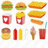 Fast food clipart hamburger chips nuts popcorn hot dog ice