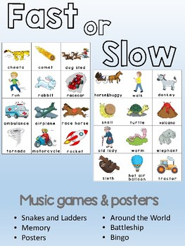 Fast or Slow - Music tempo opposite concept games and posters