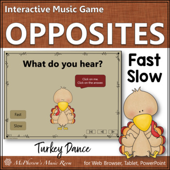 Thanksgiving Music Game Tempo Fast and Slow {Interactive} Turkey Dance