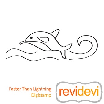 Faster than lightning (digital stamp, coloring image) S033, dolphin