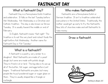 Fastnacht Day/ Fat Tuesday Reading Comprehension Passage Freebie