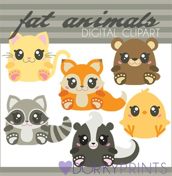 Fat Animals Digital Clip Art