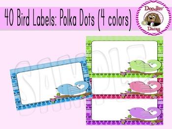 Bird Labels: Polka Dots (4 colors)