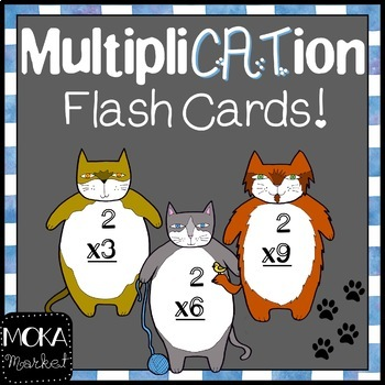 Fat Cat Multiplication Flash Cards (0-11) for Cat Lovers (or anybody!)