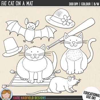 Fat Cat on a Mat (FREE Phonics / Rhyming Clip Art & Line Art)