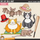 Fat Cat on a Mat (FREE Phonics -at family Clip Art & Line Art)