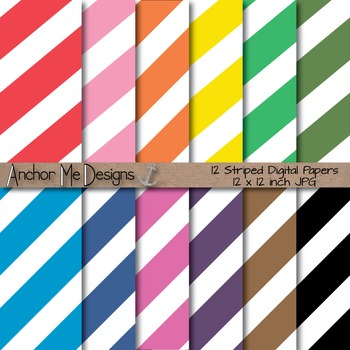 Fat Diagonal Striped Paper Pack for Bulletins, Backgrounds and More!