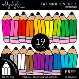FREE Fat Mini Pencils Clipart - Outlined - [Ashley Hughes Design]