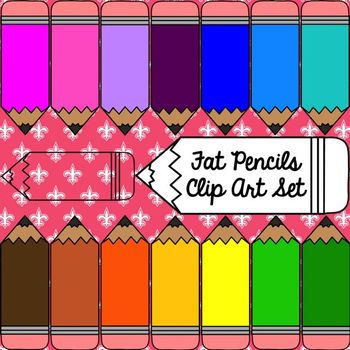 Fat Pencils Clip Art Set ~ Personal & Commercial Use