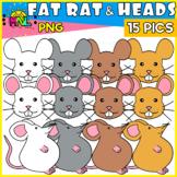 Fat Rat And Heads Clip Art Set