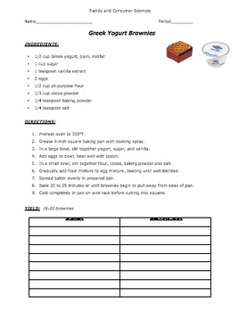 Fat Substitutions - Brownies Lab & Nutritional Analysis [ALL HANDOUTS] CCLS