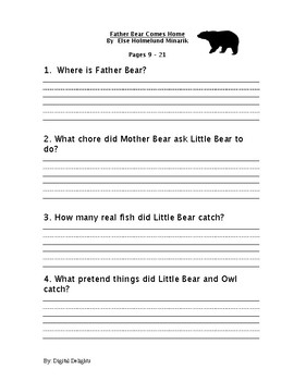 Father Bear Comes Home Reading Comprehension Questions