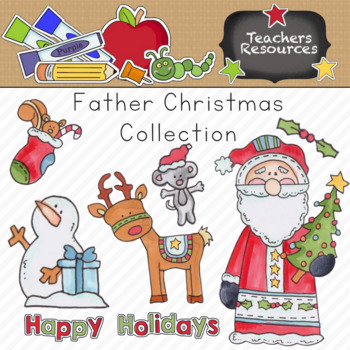 Father Christmas Santa Clipart Collection || Commercial Use Allowed