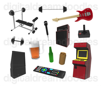 Father Day Clip Art - Man Cave Props Digital Graphics