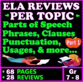 Grammar Reviews Per Topic. 28 Reviews. 61 Pages. Grade 7-8