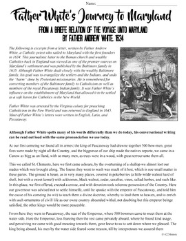 Father White's Journey to Maryland Primary Source Analysis