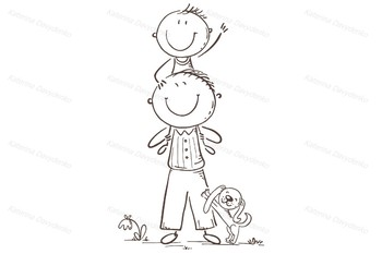 Father and son having fun, vector illustration