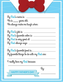 Fathers Day Questionnaire, All About My Dad Poster, Fathers Day Writing Prompt