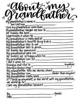 """Father's Day """"About My Grandfather"""" Printable Kid Gift"""