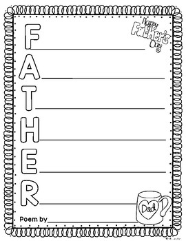 Free Father's Day Acrostic Poem Template