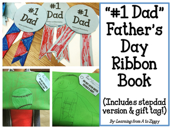 """Father's Day """"#1 Dad"""" Ribbon Book Gift- Stepdad Version Included!"""