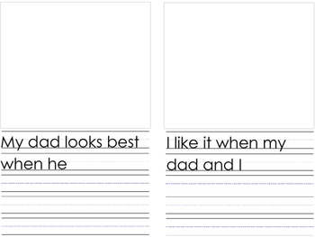 Father's Day Book Template and Writing Template with a Grandpa version