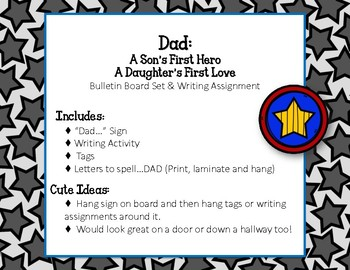 Father's Day Bulletin Board Set. Stars. Dad.