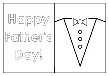 Father's Day Card Colouring Template