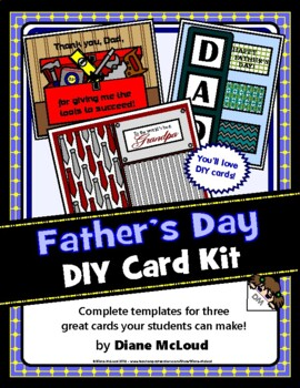 Father's Day Card Kit with Three DIY Card Templates