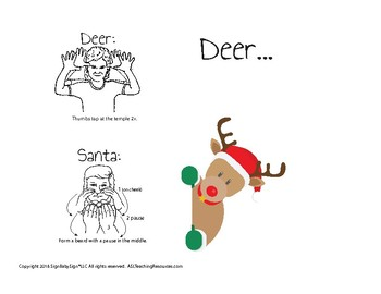 christmas card with sign language deersanta - How To Sign A Christmas Card