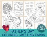 Father's Day Cards, 12 Foldable Greeting Cards, Coloring C