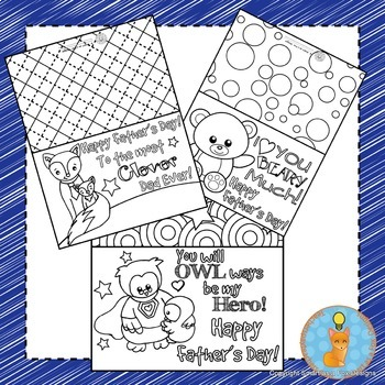 Father's Day Cards Foldable Craft and Coloring Printable