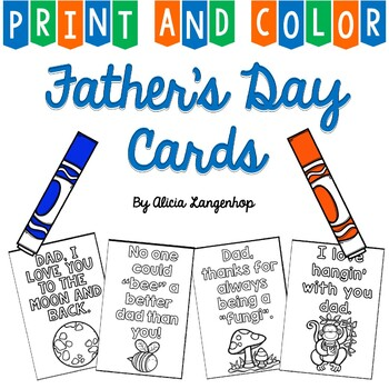 Father's Day Cards - Print & Color FREEBIE!
