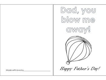 Father's Day Cards Black and White for Coloring