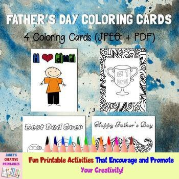 Father's Day Coloring Cards - Set of 4