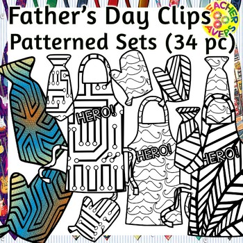 Father's Day Coloring Clip Art Set Commercial and Personal Use